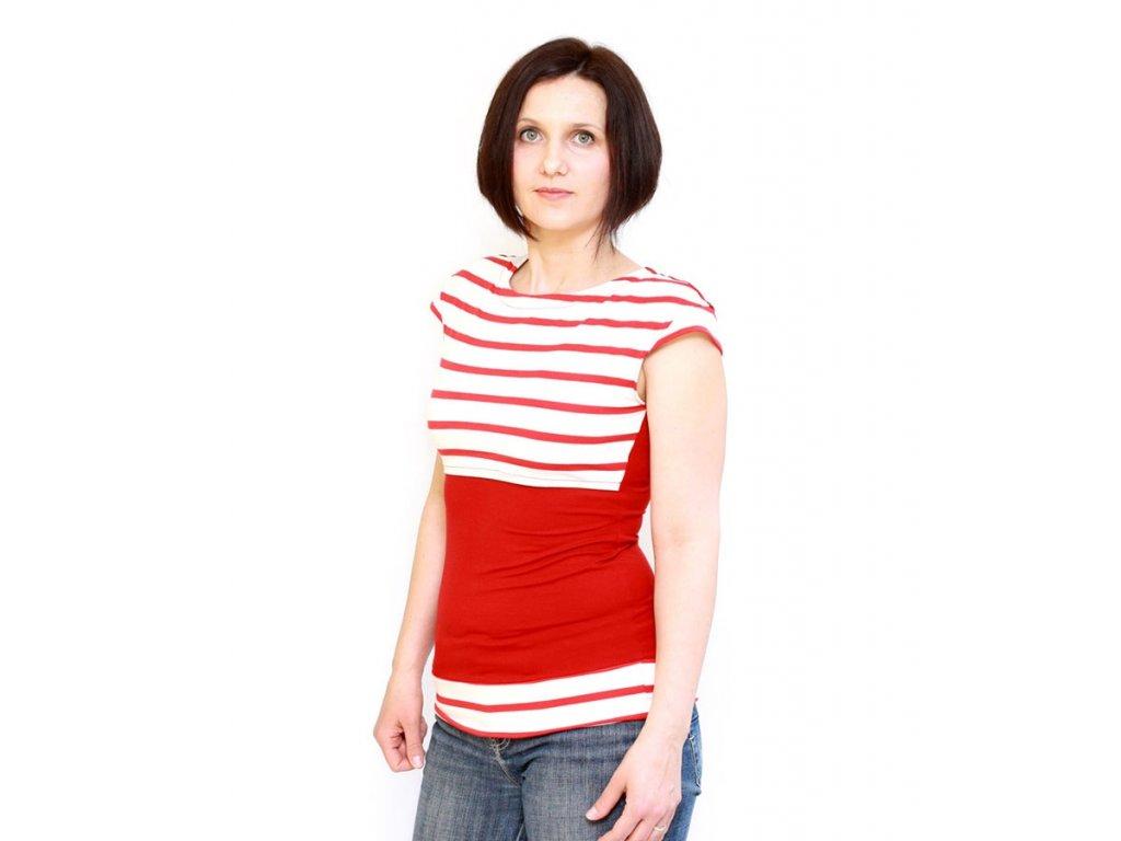 Bambusové kojící tričko s krátkými rukávy 2v1, červené s proužkem | Adelay