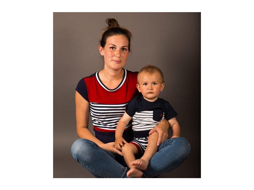 Bambusové kojící tričko s krátkými rukávy 2v1, námořnické II | Adelay