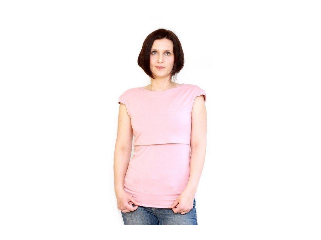 Bambusové kojící tričko s krátkými rukávy 2v1, starorůžové | Adelay
