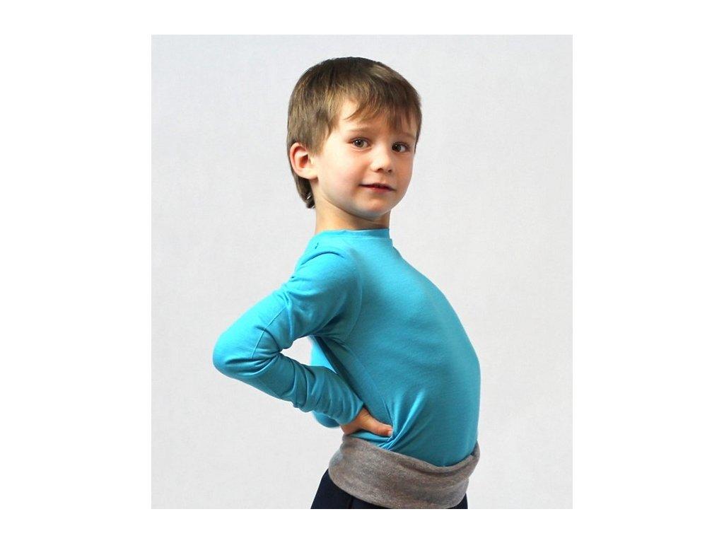 Dětské merino tričko, tyrkysové | Adelay