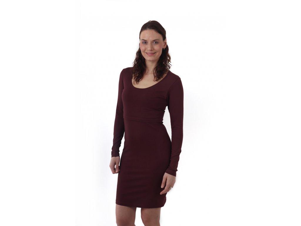 Kojicí šaty ELENA, dlouhý rukáv, bordo