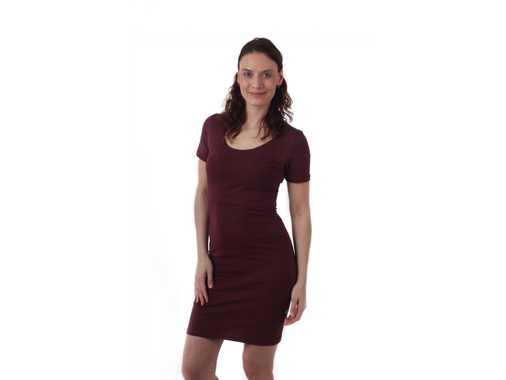 Kojicí šaty ELENA, krátký rukáv, bordo