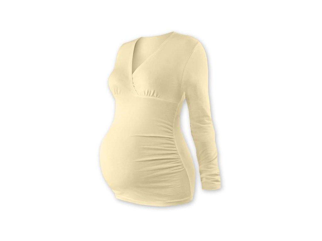Těhotenská tunika Barbora, dlouhý rukáv, béžová (caffe latte)