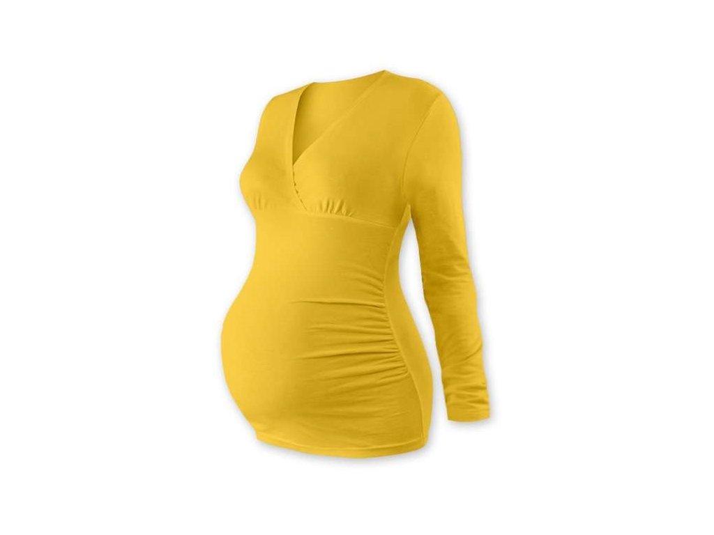 Těhotenská tunika Barbora, dlouhý rukáv, žlutooranžová