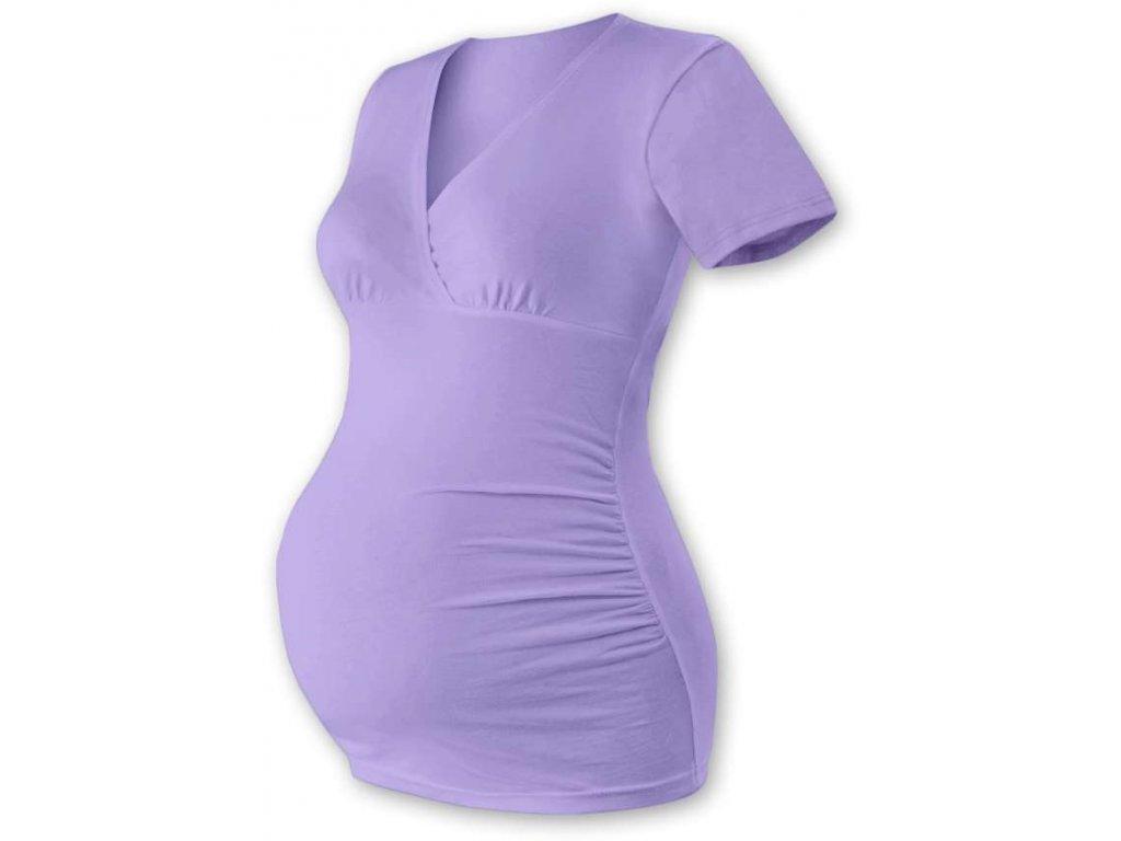 Těhotenská tunika Barbora, krátký rukáv, fialová levandulová