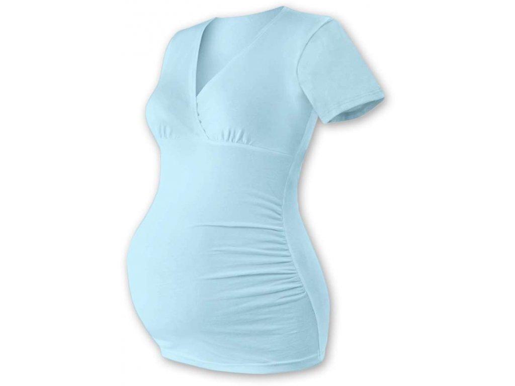 Těhotenská tunika Barbora, krátký rukáv, světle modrá