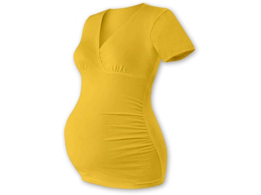 Těhotenská tunika Barbora, krátký rukáv, žlutooranžová