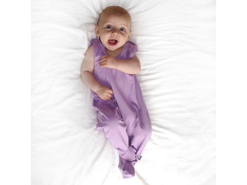 Kojenecké dupačky bavlněné, levandulově fialové, velikost