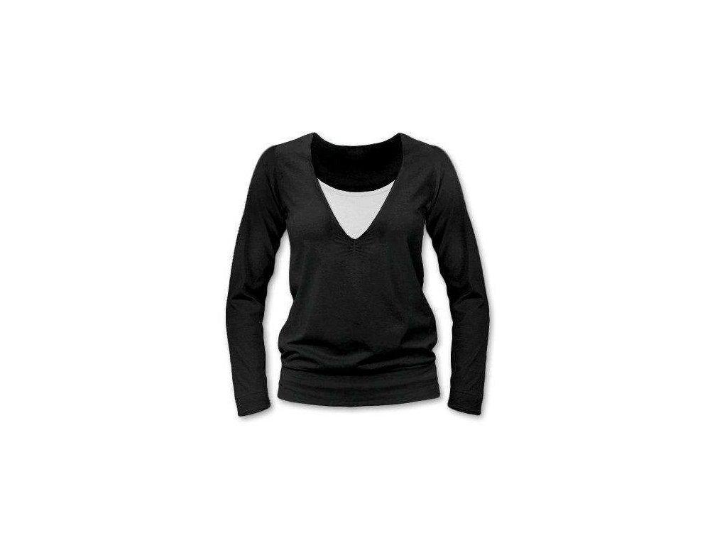 Kojící tričko KARLA, dlouhý rukáv, černá
