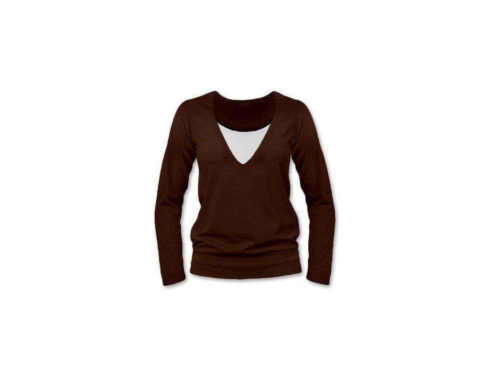 Kojící tričko KARLA, dlouhý rukáv, hnědá