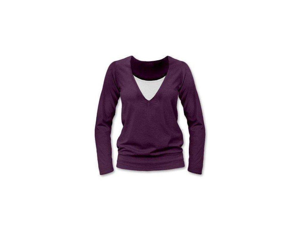 Kojící tričko KARLA, dlouhý rukáv, švestkově fialová