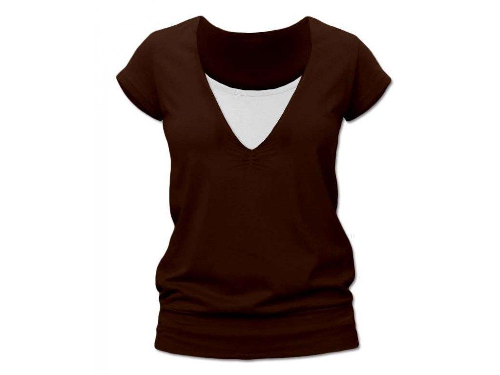 Kojící tričko KARLA, krátký rukáv, hnědá