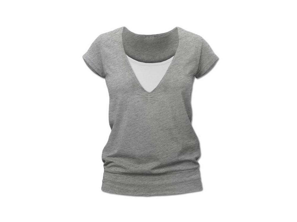 Kojící tričko KARLA, krátký rukáv, šedý melír