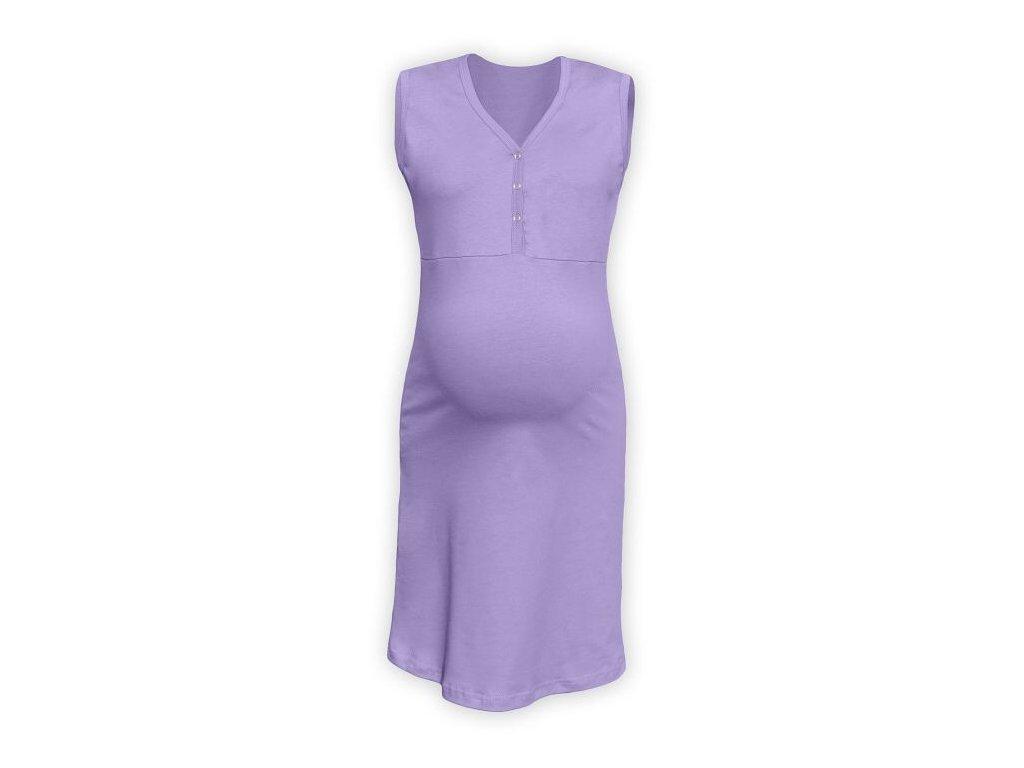 Kojící noční košile rozepínací, bez rukávů, levandulově fialová