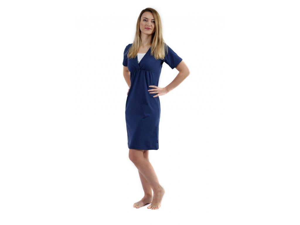 Kojicí noční košile Lucie, krátký rukáv, jeans modrá