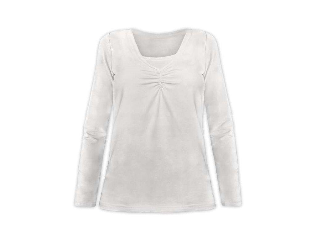 KLAUDIE- kojící tričko, vsadka v barvě, dlouhý rukáv, smetanová