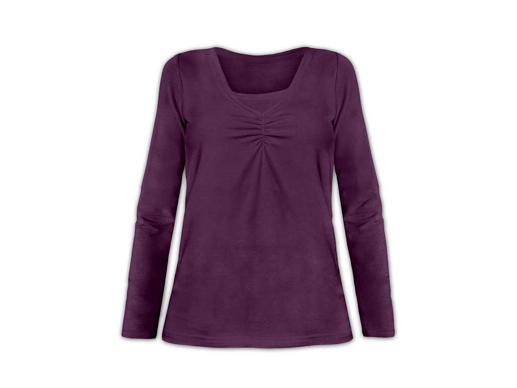 KLAUDIE- kojící tričko, vsadka v barvě, dlouhý rukáv, švestková