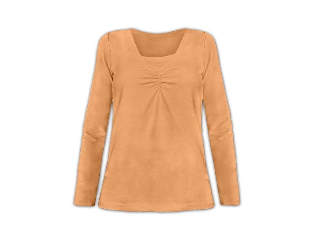 KLAUDIE- kojící tričko, vsadka v barvě, dlouhý rukáv, sv. oranžová