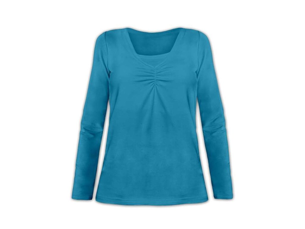 KLAUDIE- kojící tričko, vsadka v barvě, dlouhý rukáv, petrolejová ( tm. tyrkys )
