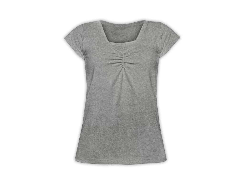 KLAUDIE- kojící tričko, vsadka v barvě, KR, šedý melír