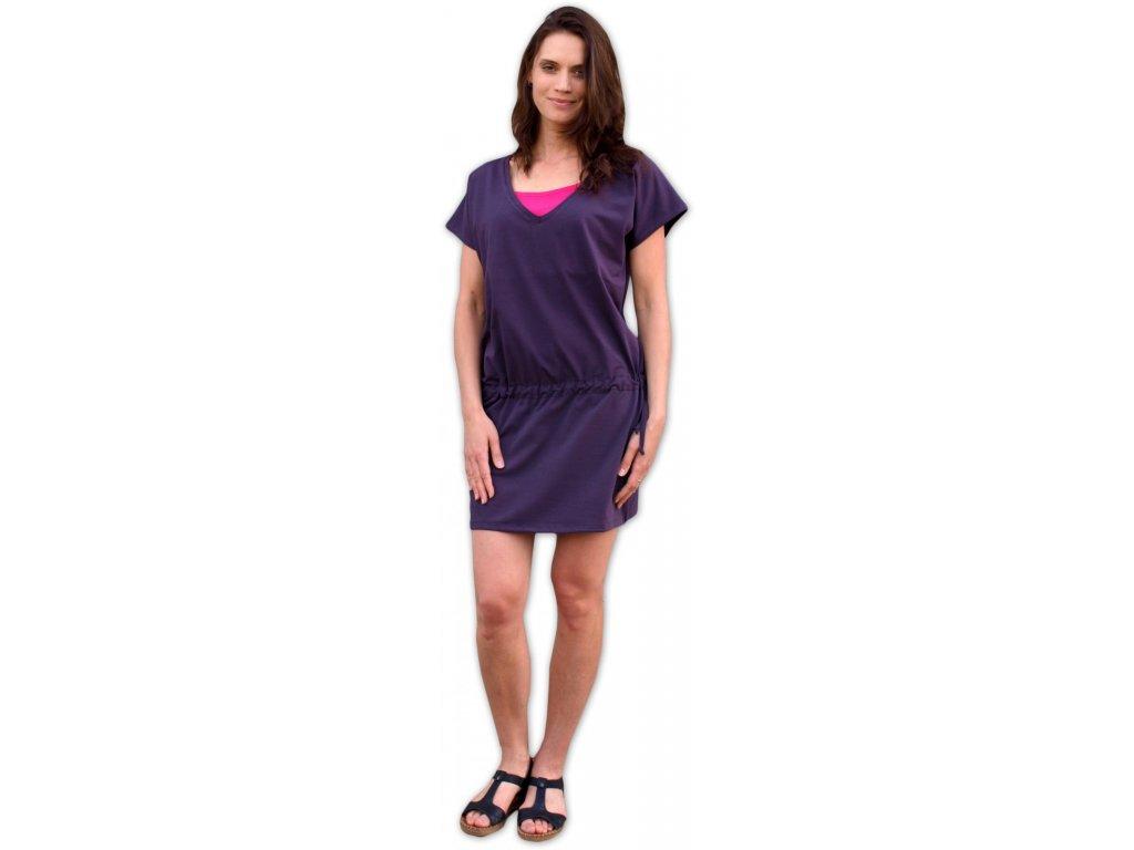 Kojící a těhotenské šaty Valerie, švestkové fialové