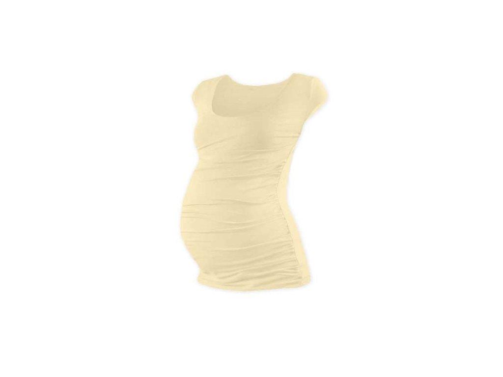 JTěhotenské tričko Johanka, mini rukáv, béžové (caffe latte)