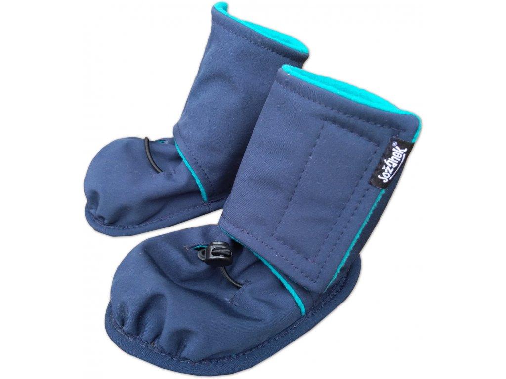 Softshellové botičky zateplené fleecem, tm. modrá/petrolejová