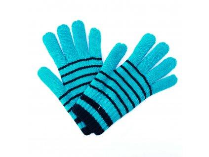 Zimní rukavice Pletex 10963 Smaragdová s proužky