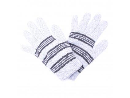 Zimní rukavice Pletex 10970 Světle šedá s proužky