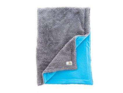 Muchlínek - Bambusová deka pro miminko Šedá + Tyrkys