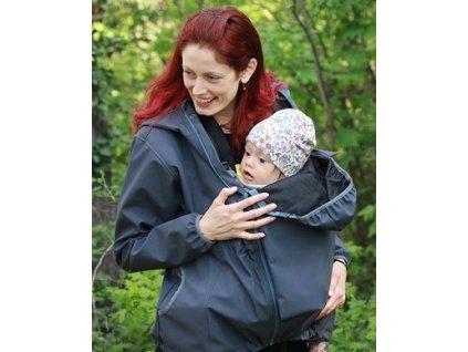 Softshellová těhotenská a nosící větrovka 3v1, tmavě šedá | Adelay
