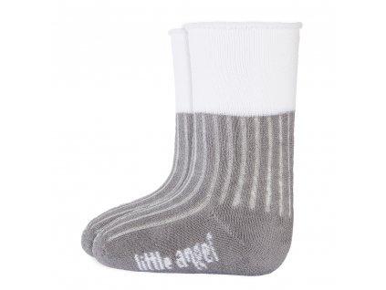Little Angel Ponožky froté Outlast® - tm.šedá/bílá