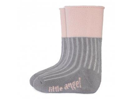 Little Angel Ponožky froté Outlast® - tm.šedá/sv.růžová