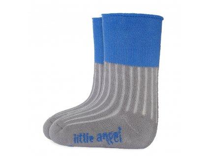 Little Angel Ponožky froté Outlast® - tm.šedá/modrá