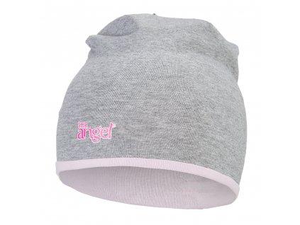 Little Angel Čepice podšitá Outlast® - šedý melír/růžová baby
