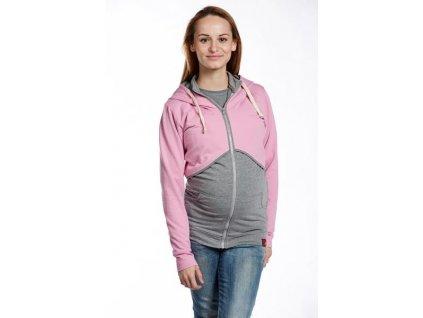 Těhotenská a kojící mikina na zip Elli, šedá s růžovou