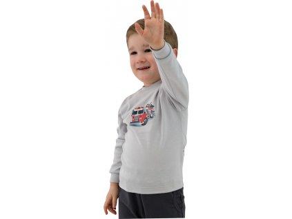 ESITO Dětské tričko dlouhý rukáv Hasiči vel. 98 - 116  / šedá