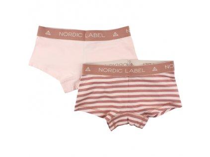Dětské boxerky Nordic Label, sada 2ks světlá růžová/proužek