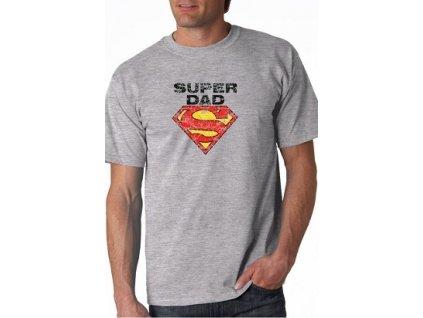 """Pánské tričko s potiskem """"Super dad"""" šedé"""