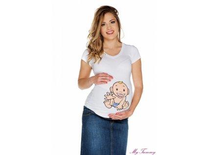 """Těhotenské tričko s potiskem bílé """"Chlapeček"""" - KR"""
