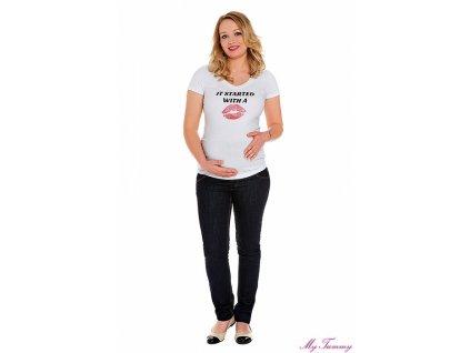 """Těhotenské tričko s potiskem """"KISS"""" - KR"""