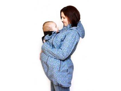 Softshellový nosící a těhotenský kabát 3v1, modrý se vzorem | Adelay