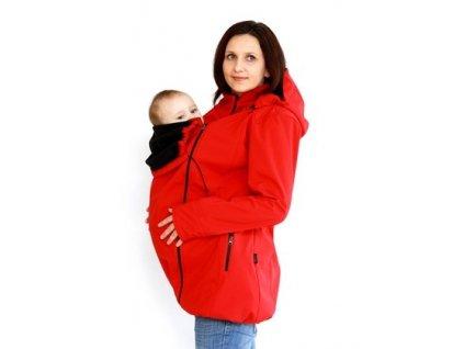 Softshellový nosící a těhotenský kabát 3v1, červený | Adelay