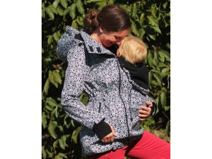 Softshellový nosící a těhotenský kabát 3v1, černobílý vzor | Adelay