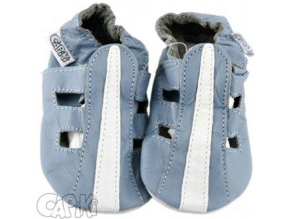 Kožené capáčky Sandálky modré  CAPIKI
