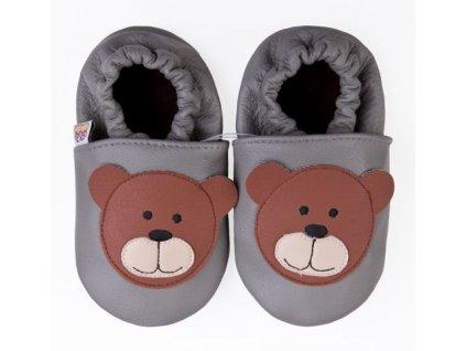Kožené capáčky dětské Afelo, Medvídek šedý