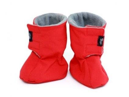 Dětské softshellové botičky, červeno-šedé | Adelay