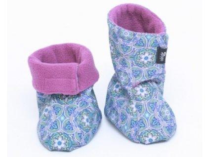 Dětské softshellové botičky, modro-fialové s květinovým vzorem | Adelay