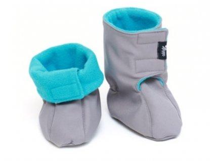 Dětské softshellové botičky, šedo-tyrkysové | Adelay