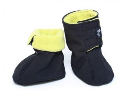 Dětské softshellové botičky, černo-limetkové | Adelay